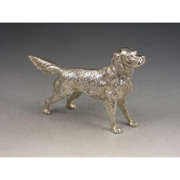 Victorian Novelty cast Silver Pepper made in the form of a Golden Retriever