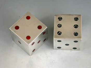 Victorian Novelty Silver and Enamel Dice Pepper Pots