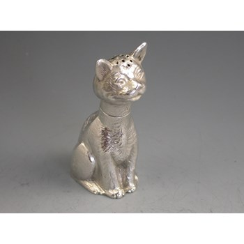 Victorian Novelty die-stamped Silver Pepper depicting a comical seated cat