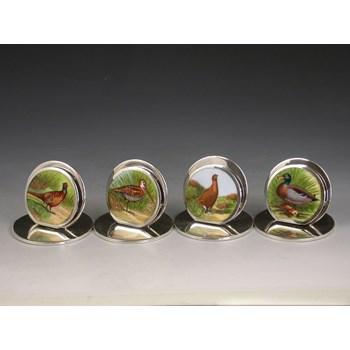 SET 4 EDWARDIAN SILVER & ENAMEL GAME BIRD MENU HOLDERS SAMPSON MORDAN & CO, CHESTER 1905 - 1906