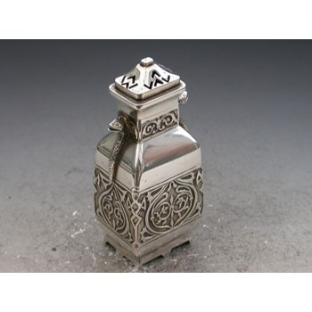 Victorian novelty Silver Pepper made in the form of a Chinese vase with snake handles