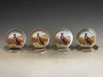 SET 4 EDWARDIAN SILVER & ENAMEL GAME BIRD MENU HOLDERS - ENGLISH PARTRIDGES