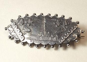 "Birmingham 1894. Rare Victorian Silver Sweetheart Brooch. ""Blackpool Tower""."