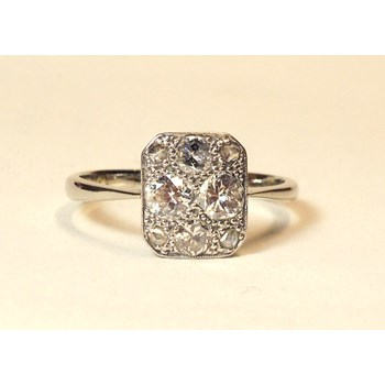 Stunning Art Deco 18ct Gold & Platinum Diamond Ring. Size 'Q'